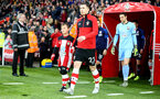 SOUTHAMPTON, ENGLAND - DECEMBER 28: Pierre-Emile Hojbjerg of Southampton leads the teams out with the match day mascot during the Premier League match between Southampton FC and Crystal Palace at St Mary's Stadium on December 28, 2019 in Southampton, United Kingdom. (Photo by Matt Watson/Southampton FC via Getty Images)
