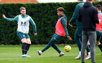SOUTHAMPTON, ENGLAND - DECEMBER 29: Callum Slattery(L) snd Enzo Robise during a Southampton FC training session at the Staplewood Complex on December 29, 2019 in Southampton, England. (Photo by Matt Watson/Southampton FC via Getty Images)
