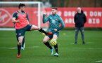 SOUTHAMPTON, ENGLAND - DECEMBER 29: Will Ferry(L) and Callum Slattery during a Southampton FC training session at the Staplewood Complex on December 29, 2019 in Southampton, England. (Photo by Matt Watson/Southampton FC via Getty Images)