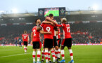 SOUTHAMPTON, ENGLAND - JANUARY 01: Danny Ings(9) of Southampton celebrates with his team mates during the Premier League match between Southampton FC and Tottenham Hotspur at St Mary's Stadium on January 01, 2020 in Southampton, United Kingdom. (Photo by Matt Watson/Southampton FC via Getty Images)