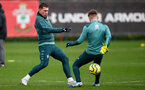 SOUTHAMPTON, ENGLAND - JANUARY 07: Pierre-Emile Hojbjerg(L) during a Southampton FC training session at the Staplewood Campus on January 07, 2020 in Southampton, England. (Photo by Matt Watson/Southampton FC via Getty Images)