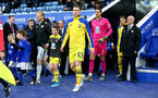 LEICESTER, ENGLAND - JANUARY 11: Pierre-Emile Hojbjerg of Southampton leads the teams out with the match day mascot during the Premier League match between Leicester City and Southampton FC at The King Power Stadium on January 11, 2020 in Leicester, United Kingdom. (Photo by Matt Watson/Southampton FC via Getty Images)