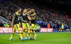 LEICESTER, ENGLAND - JANUARY 11: Stuart Armstrong(centre) celebrates with his team mates after making it 1-1 during the Premier League match between Leicester City and Southampton FC at The King Power Stadium on January 11, 2020 in Leicester, United Kingdom. (Photo by Matt Watson/Southampton FC via Getty Images)