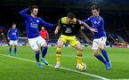 LEICESTER, ENGLAND - JANUARY 11: Pierre-Emile Hojbjerg(centre) of Southampton holds off two Leicester players during the Premier League match between Leicester City and Southampton FC at The King Power Stadium on January 11, 2020 in Leicester, United Kingdom. (Photo by Matt Watson/Southampton FC via Getty Images)