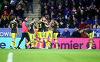 LEICESTER, ENGLAND - JANUARY 11: Danny Ings(centre) of Southampton celebrated after scoring the winning goal during the Premier League match between Leicester City and Southampton FC at The King Power Stadium on January 11, 2020 in Leicester, United Kingdom. (Photo by Matt Watson/Southampton FC via Getty Images)