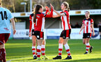 SOUTHAMPTON, ENGLAND - JANUARY 12: Georgie Freeland (L) and Shannon Albuery (R) during the SRWFL at Snow's Stadium between Southampton Women and Chesham on January 12 2020, Totton, England. (Photo by Isabelle Field/Southampton FC via Getty Images)