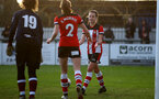 SOUTHAMPTON, ENGLAND - JANUARY 12: Ella Morris (L) and Sophia Pharoah (R) during the SRWFL at Snow's Stadium between Southampton Women and Chesham on January 12 2020, Totton, England. (Photo by Isabelle Field/Southampton FC via Getty Images)