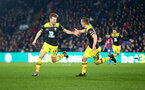 LONDON, ENGLAND - JANUARY 21: Stuart Armstrong(L) of Southampton celebrates with James Ward-Prowse(R) after scoring his teams second goal during the Premier League match between Crystal Palace and Southampton FC at Selhurst Park on January 21, 2020 in London, United Kingdom. (Photo by Matt Watson/Southampton FC via Getty Images)