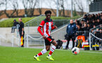 SOUTHAMPTON, ENGLAND - JANUARY 23: Zuriel Otseh-Taiwo of Southampton FC during the Barclays Under 18 Premier League match between Southampton FC and Swansea City at the Staplewood Campus on January 23, 2020 in Southampton, England