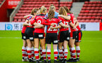 SOUTHAMPTON, ENGLAND - JANUARY 26: Southampton FC players huddle during the Women's FA Cup Fourth Round match between Southampton Womens FC and Coventry United Ladies at St Mary's Stadium on January 26, 2020 in Southampton, England
