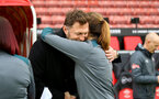 SOUTHAMPTON, ENGLAND - JANUARY 26: Ralph Hasenhuttl and Marieanne Spacey-Cale during the Women's FA Cup Fourth Round match between Southampton FC and Coventry United Ladies at St. Mary's Stadium on January 26, 2020 in Southampton, England. (Photo by Isabelle Field/Southampton FC via Getty Images)