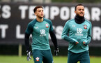 SOUTHAMPTON, ENGLAND - JANUARY 30: Ché Adams(L) and Ryan Bertrand during a Southampton FC training session at the Staplewood Campus on January 30, 2020 in Southampton, England. (Photo by Matt Watson/Southampton FC via Getty Images)