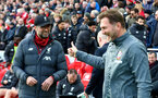 LIVERPOOL, ENGLAND - FEBRUARY 01: Jurgan Klopp(L) of Liverpool and Ralph Hasenhuttl of Southampton during the Premier League match between Liverpool FC and Southampton FC at Anfield on February 01, 2020 in Liverpool, United Kingdom. (Photo by Matt Watson/Southampton FC via Getty Images)