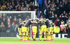 LONDON, ENGLAND - FEBRUARY 05: Saints players huddle during the FA Cup Fourth Round Replay match between Tottenham Hotspur and Southampton FC at Tottenham Hotspur Stadium on February 05, 2020 in London, England. (Photo by Matt Watson/SouthamptonFC via Getty Images)