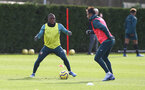 SOUTHAMPTON, ENGLAND - FEBRUARY 11: Michael Obafemi(L) during a Southampton FC training session at the Staplewood Campus on February 11, 2020 in Southampton, England. (Photo by Matt Watson/Southampton FC via Getty Images)