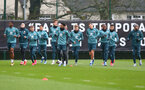 SOUTHAMPTON, ENGLAND - FEBRUARY 13: Players warm up during a Southampton FC training session at the Staplewood Complex on February 13, 2020 in Southampton, England. (Photo by Matt Watson/Southampton FC via Getty Images)