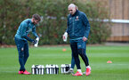 SOUTHAMPTON, ENGLAND - FEBRUARY 13: Jake Vokins(L) and Oriol Romeu drink from Wow Hydrate bottles during a Southampton FC training session at the Staplewood Complex on February 13, 2020 in Southampton, England. (Photo by Matt Watson/Southampton FC via Getty Images)