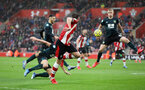 SOUTHAMPTON, ENGLAND - FEBRUARY 15: Jack Stephens during the Premier League match between Southampton FC and Burnley FC at St Mary's Stadium on February 8, 2020 in Southampton, United Kingdom. (Photo by Chris Moorhouse/Southampton FC via Getty Images)