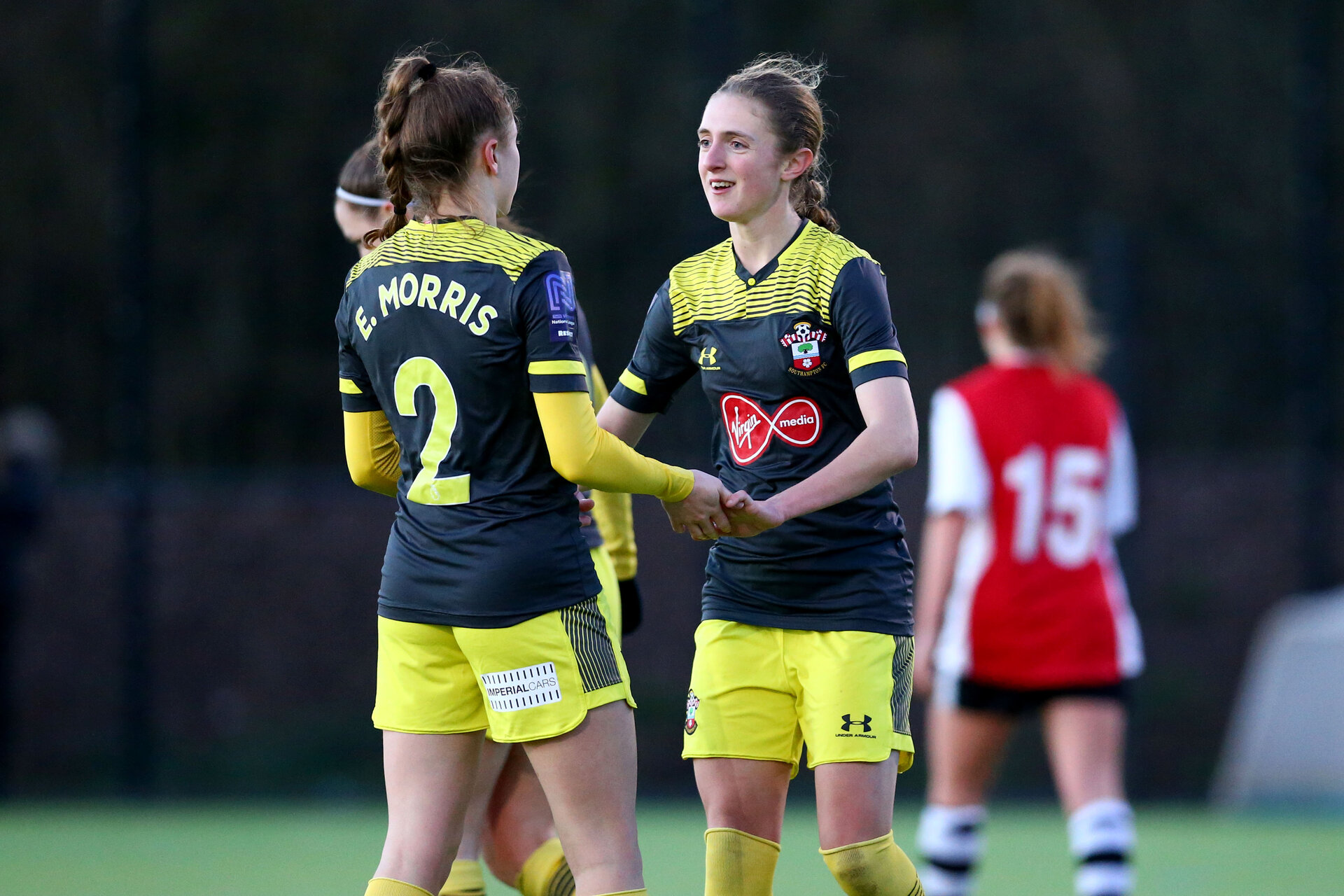 EXETER, ENGLAND - February 16: Ella Morris (L) and Shannon Albuery (R) during the SRWFL at Cat and Fiddle Training Ground between Exeter and Southampton Women on February 16 2020, Exeter, England. (Photo by Isabelle Field/Southampton FC via Getty Images)