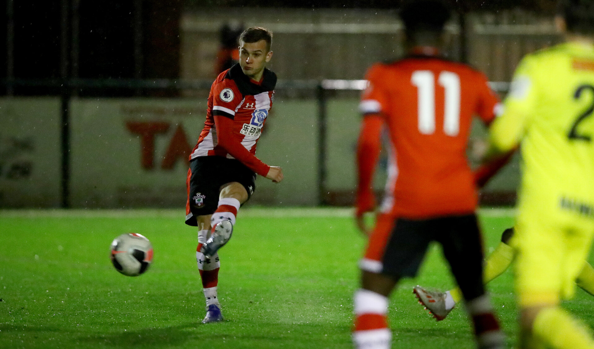 SOUTHAMPTON, ENGLAND - FEBRUARY 18: Kornelius Hansen opens the scoring during the Hampshire Senior Cup match between Southampton FC and Havant and Waterlooville at the Snows Stadium, Totton, on February 18, 2020 in Southampton, England. (Photo by Matt Watson/Southampton FC via Getty Images)