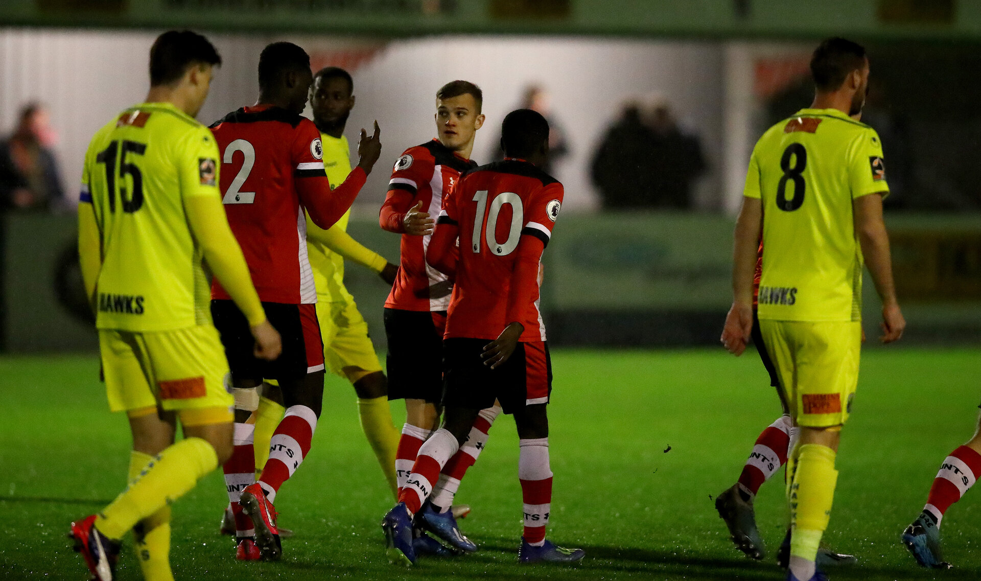 SOUTHAMPTON, ENGLAND - FEBRUARY 18: Kornelius Hansen of Southampton after opening the scoring during the Hampshire Senior Cup match between Southampton FC and Havant and Waterlooville at the Snows Stadium, Totton, on February 18, 2020 in Southampton, England. (Photo by Matt Watson/Southampton FC via Getty Images)
