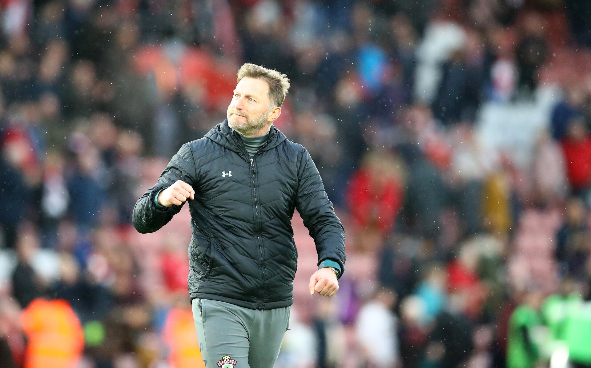 SOUTHAMPTON, ENGLAND - FEBRUARY 22: Ralph Hasenhuttl of Southampton celebrates at the final whistle during the Premier League match between Southampton FC and Aston Villa at St Mary's Stadium on February 22, 2020 in Southampton, United Kingdom. (Photo by Matt Watson/Southampton FC via Getty Images)