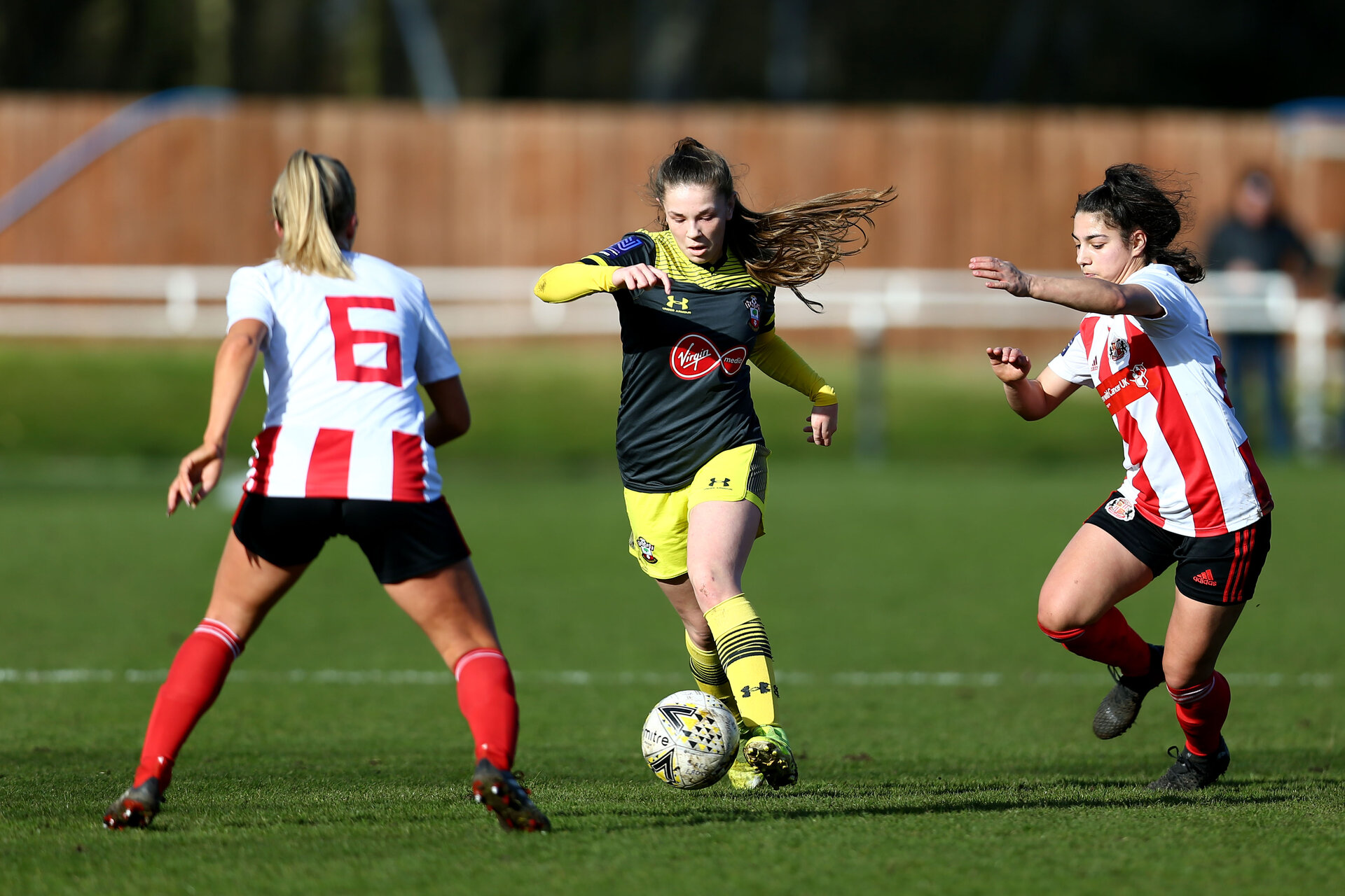 SUNDERLAND, ENGLAND - February 23: during the FAWNL semi-final at The Eppleton Colliery Welfare Ground between Sunderland and Southampton Women on February 23 2020, Sunderland, England. (Photo by Isabelle Field/Southampton FC via Getty Images)