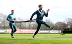 SOUTHAMPTON, ENGLAND - FEBRUARY 25: James Ward-Prowse(L) and Stuart Armstrong during a Southampton FC training session at the Staplewood Campus on February 25, 2020 in Southampton, England. (Photo by Matt Watson/Southampton FC via Getty Images)