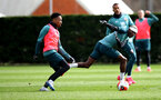 SOUTHAMPTON, ENGLAND - FEBRUARY 25: Kyle Walker-Peters(L) and Moussa Djenepo during a Southampton FC training session at the Staplewood Campus on February 25, 2020 in Southampton, England. (Photo by Matt Watson/Southampton FC via Getty Images)