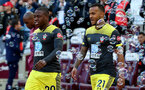 LONDON, ENGLAND - FEBRUARY 29: Michael Obafemi(L) and Ryan Bertrand of Southampton during the Premier League match between West Ham United and Southampton FC at London Stadium on February 29, 2020 in London, United Kingdom. (Photo by Matt Watson/Southampton FC via Getty Images)