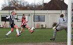SOUTHAMPTON, ENGLAND - March 1: Alisha Ware of Southampton FC Womens has a shot during the FA Women's National League match between Southampton Women and Maidenhead United at Staplewood Campus on March 1 2020, Exeter, England. (Photo by Tom Mulholland/Southampton FC)