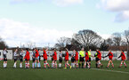 SOUTHAMPTON, ENGLAND - March 1: Southampton FC Women and Maidenhead United players shake hands during the FA WomenÕs National League match between Southampton Women and Maidenhead United at Staplewood Campus on March 1 2020, Exeter, England. (Photo by Tom Mulholland/Southampton FC) SOUTHAMPTON, ENGLAND - March 1: Southampton FC Women and Maidenhead United players shake hands during the FA Women's National League match between Southampton Women and Maidenhead United at Staplewood Campus on March 1 2020, Exeter, England. (Photo by Tom Mulholland/Southampton FC)