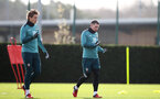 SOUTHAMPTON, ENGLAND - MARCH 03: Jannik Vestergaard(L) and Pierre-Emile Højbjerg during a Southampton FC training session at the Staplewood Campus on March 03, 2020 in Southampton, England. (Photo by Matt Watson/Southampton FC via Getty Images)