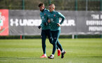 SOUTHAMPTON, ENGLAND - MARCH 03: Jack Stephens(L) and James Ward-Prowse during a Southampton FC training session at the Staplewood Campus on March 03, 2020 in Southampton, England. (Photo by Matt Watson/Southampton FC via Getty Images)