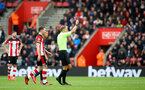 SOUTHAMPTON, ENGLAND - MARCH 07: Referee Graham Scott shows Moussa Djenepo of Southampton a red card during the Premier League match between Southampton FC and Newcastle United at St Mary's Stadium on March 07, 2020 in Southampton, United Kingdom. (Photo by Matt Watson/Southampton FC via Getty Images)