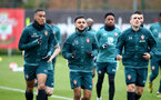SOUTHAMPTON, ENGLAND - MARCH 10: L to R Yan Valery, Sofiane Boufal and Oriol Romeuduring a Southampton FC training session at the Staplewood Campus on March 08, 2020 in Southampton, England. (Photo by Matt Watson/Southampton FC via Getty Images)