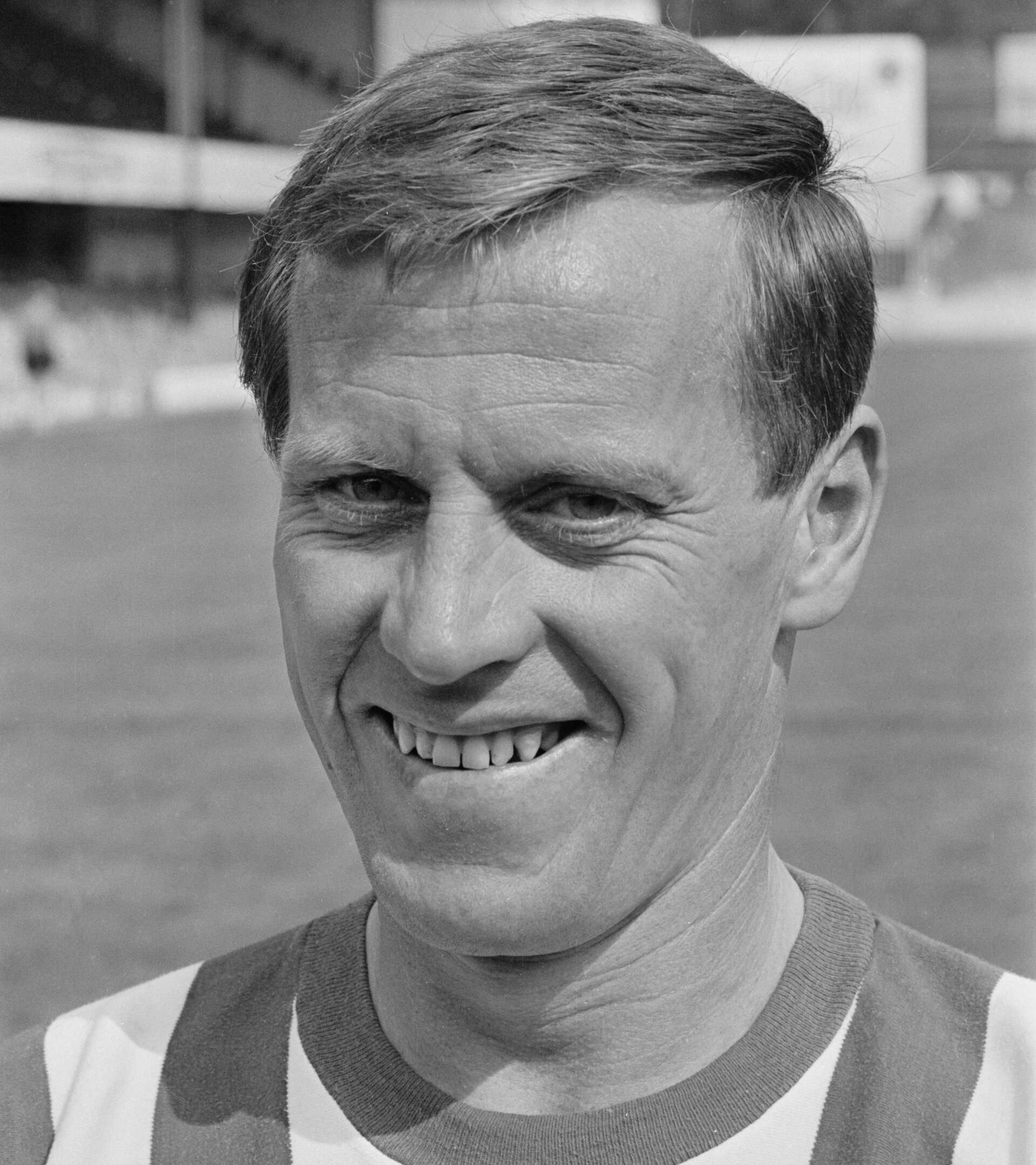 British footballer George O'Brien poses for his Southampton FC player portrait at the club's The Dell ground in Southampton, England, 17th August 1965. (Photo by Woods/Daily Express/Hulton Archive/Getty Images)