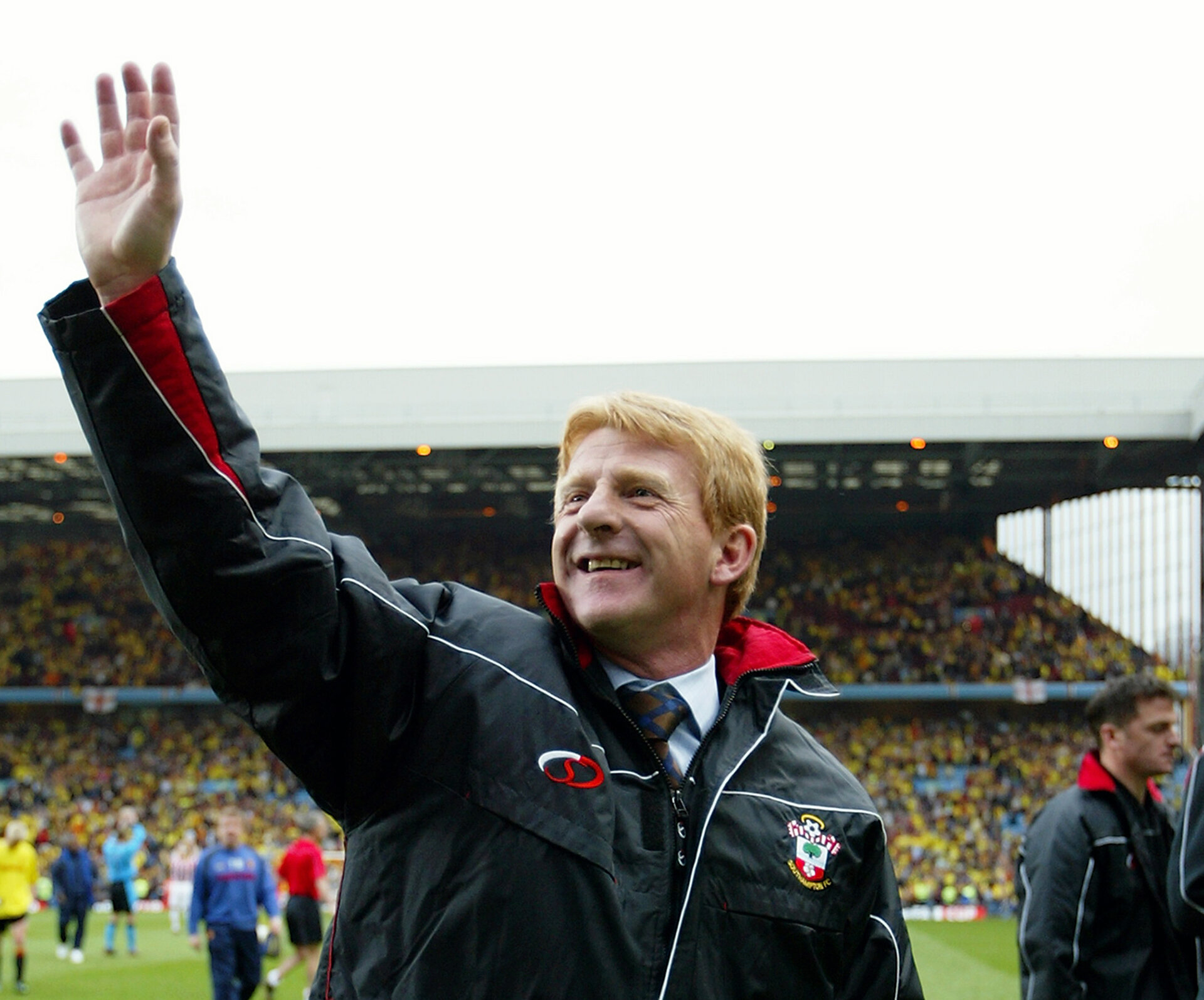 BIRMINGHAM - APRIL 13:  Southampton manager Gordan Strachan celebrates after the FA Cup Semi-Final match between Southampton and Watford held on April 13, 2003 at Villa Park, in Birmingham, England. Southampton won the match 2-1. (Photo by Ross Kinnaird/Getty Images)