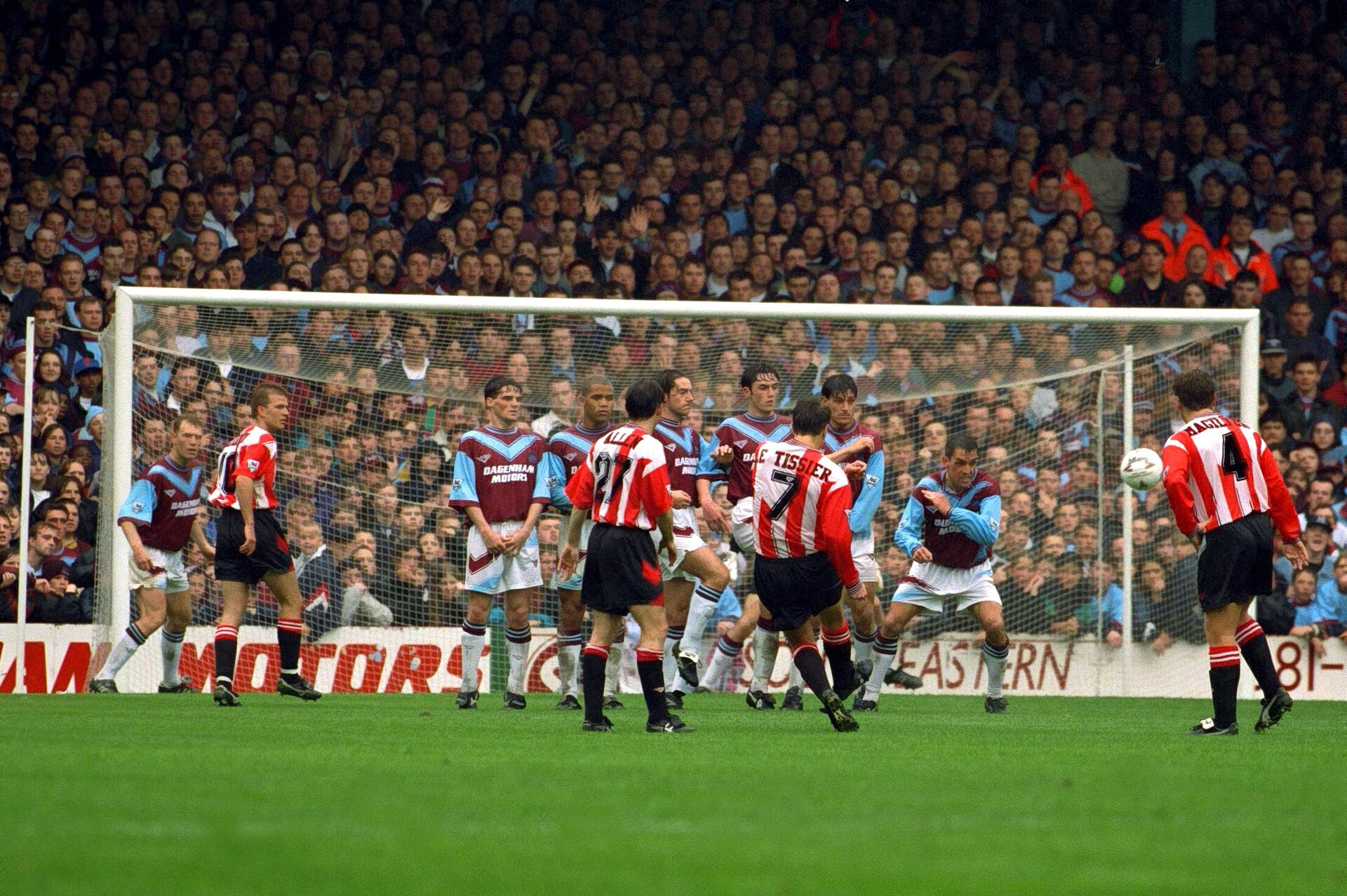 Football - West Ham v Southampton , FA Premier League , 7/5/94  Mandatory Credit: Action Images  Southampton's Matthew Le Tissier scores from a free kick