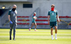 SOUTHAMPTON, ENGLAND - MAY 19: Jack Stephens(R) talks to fitness coach Bill Styles(L) as Southampton FC players return to training following Covid-19 restrictions being relaxed, at the Staplewood Campus on May 19, 2020 in Southampton, England. (Photo by Matt Watson/Southampton FC via Getty Images)