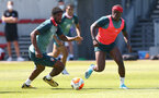 SOUTHAMPTON, ENGLAND - MAY 29: Kevin Danso(L) and Michael Obafemi during a Southampton FC training session, at the Staplewood Campus on May 29, 2020 in Southampton, England. (Photo by Matt Watson/Southampton FC via Getty Images)