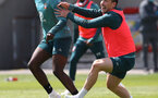SOUTHAMPTON, ENGLAND - JUNE 05: Alex Jankewitz(L) and Pierre-Emile Højbjerg during a Southampton FC training session at the Staplewood Campus on June 05, 2020 in Southampton, England. (Photo by Matt Watson/Southampton FC via Getty Images)