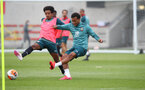 SOUTHAMPTON, ENGLAND - JUNE 09: Jacob Maddox(L) and Ryan Bertrand during a Southampton FC training session at the Staplewood Campus on June 09, 2020 in Southampton, England. (Photo by Matt Watson/Southampton FC via Getty Images)