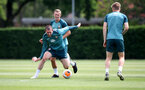 SOUTHAMPTON, ENGLAND - JUNE 17: Pierre-Emile Højbjerg(front) and James Ward-Prowse(behind)during a Southampton FC training session at the Staplewood Campus on June 17, 2020 in Southampton, England. (Photo by Matt Watson/Southampton FC via Getty Images)