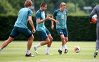 SOUTHAMPTON, ENGLAND - JUNE 17: Jan Bednarek(L) and James Ward-Prowse during a Southampton FC training session at the Staplewood Campus on June 17, 2020 in Southampton, England. (Photo by Matt Watson/Southampton FC via Getty Images)