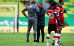 NORWICH, ENGLAND - JUNE 19: (L) Ralph Hasenhuttl and (R) Daniel Farke after the Premier League match between Norwich City and Southampton FC at Carrow Road on June 19, 2020 in Norwich, United Kingdom. (Photo by Matt Watson/Southampton FC via Getty Images)