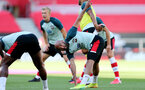 SOUTHAMPTON, ENGLAND - JUNE 25: Nathan Redmond during warm up ahead of the Premier League match between Southampton FC and Arsenal FC at St Mary's Stadium on March 21, 2020 in Southampton, United Kingdom. (Photo by Chris Moorhouse/Southampton FC via Getty Images)