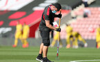 SOUTHAMPTON, ENGLAND - JUNE 25: groundsmen ahrad of the Premier League match between Southampton FC and Arsenal FC at St Mary's Stadium on March 21, 2020 in Southampton, United Kingdom. (Photo by Matt Watson/Southampton FC via Getty Images)