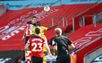 SOUTHAMPTON, ENGLAND - JUNE 25: Jan Bednarek of Southampton wins a header during the Premier League match between Southampton FC and Arsenal FC at St Mary's Stadium on June 25, 2020 in Southampton, United Kingdom. (Photo by Matt Watson/Southampton FC via Getty Images)