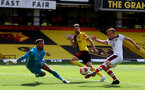 WATFORD, ENGLAND - JUNE 28: James Ward-Prowse of Southampton shoots at goal during the Premier League match between Watford FC and Southampton FC at Vicarage Road on April 4, 2020 in Watford, United Kingdom. (Photo by Matt Watson/Southampton FC via Getty Images)